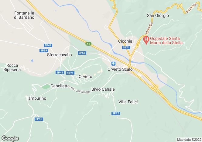 Map for Orvieto, Terni, Umbria