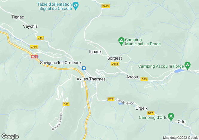 Map for ax-les-thermes, Ariège, France