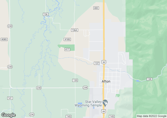 Map for Wyoming, Lincoln County, Afton