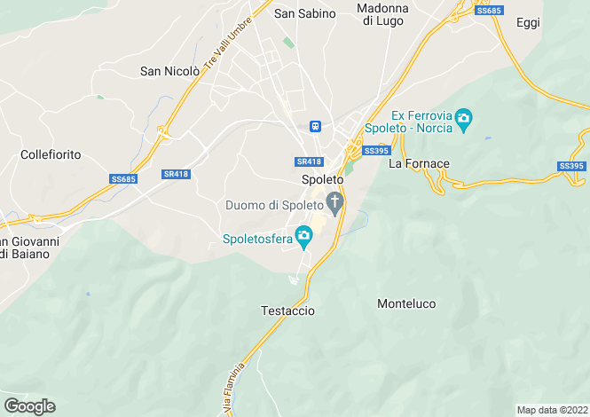 Map for Italy - Umbria, Perugia, Spoleto
