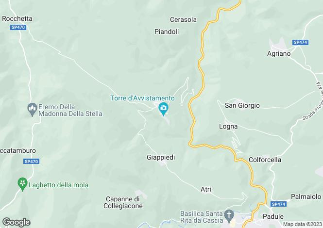 Map for Italy - Umbria, Perugia, Cascia