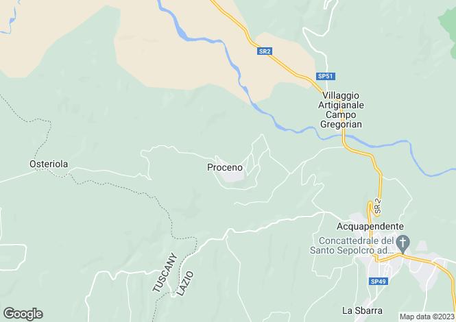 Map for Italy - Lazio, Viterbo, Acquapendente