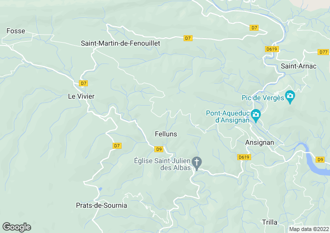 Map for felluns, Pyrénées-Orientales, France