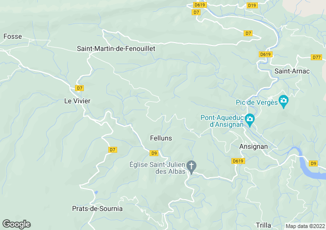 Map for Felluns, Pyrenees-Orientales, 66730, France