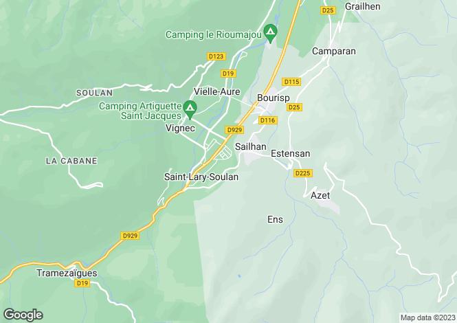 Map for Midi-Pyrénées, Hautes-Pyrénées, St-Lary-Soulan