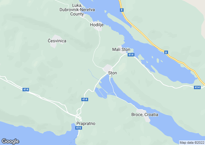 Map for Ston, Peljesac Peninsula, Croatia