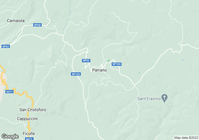 Map for Parrano, Umbria, Italy