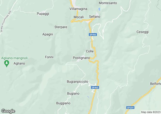 Map for Umbria, Perugia, Sellano