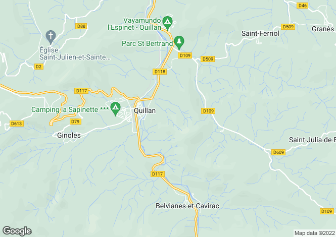 Map for LANGUEDOC-ROUSSILLON, AUDE, Quillan