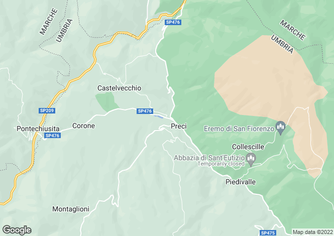 Map for Italy - Umbria, Perugia, Preci