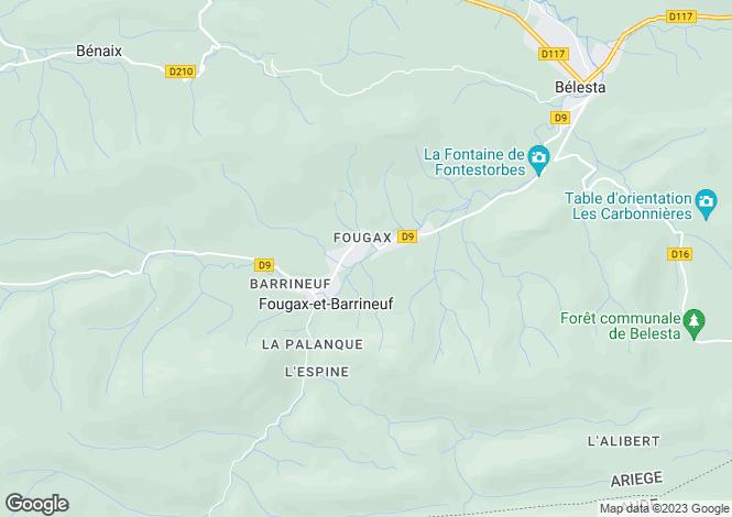 Map for fougax-et-barrineuf, Ariège, France