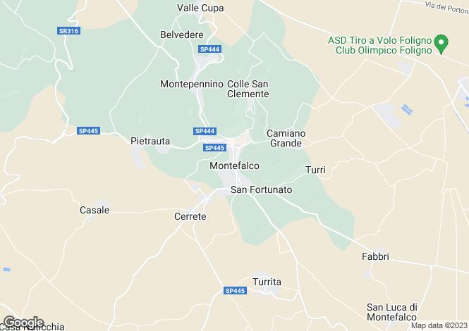 Map for Umbria, Perugia, Montefalco