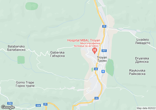 Map for Troyan, Lovech
