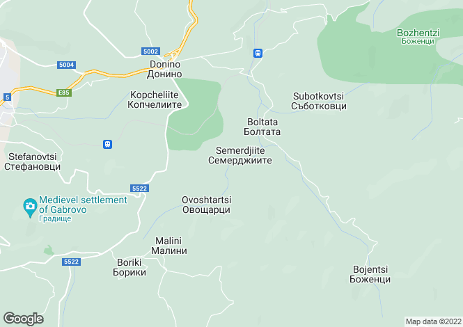 Map for Bozhentsi, Gabrovo