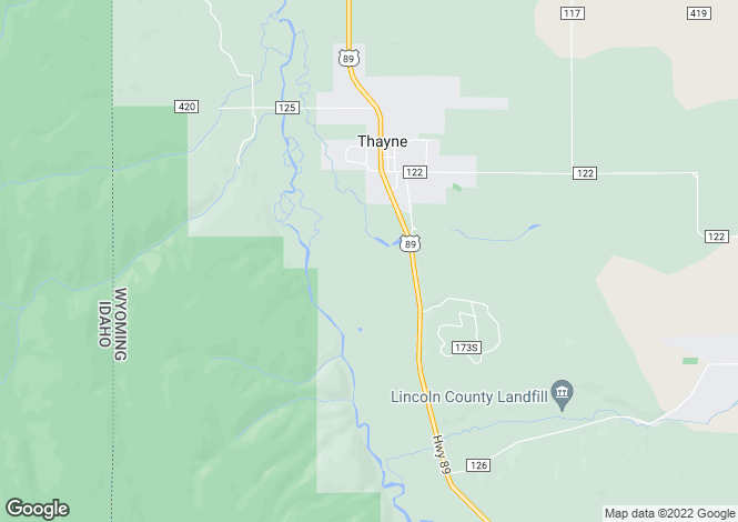 Map for Wyoming, Lincoln County, Thayne