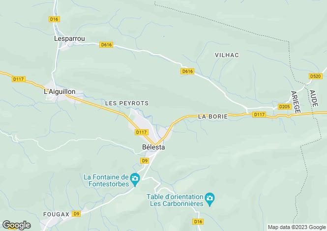 Map for belesta, Ariège, France