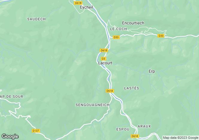 Map for Midi-Pyrénées, Ariège, Lacourt