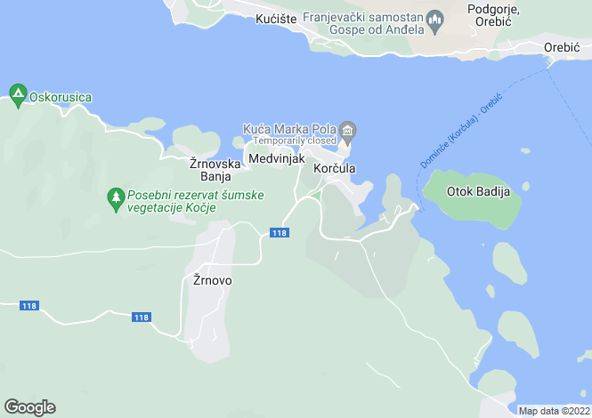 Map for Korcula Island, Dubrovnik-Neretva