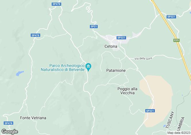 Map for Cetona, Siena, Tuscany