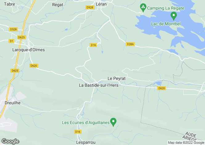 Map for Midi-Pyrenees, Ariège, La Bastide-sur-l'Hers