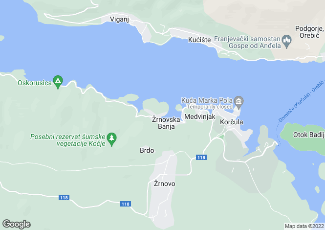 Map for Apartments, Zrnovo, Korcula Island, Croatia