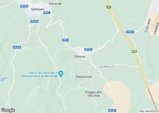 Map for Cetona, Tuscany, Italy
