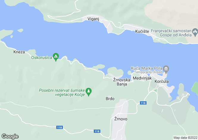 Map for Korcula Island, Dubrovnik-Neretva