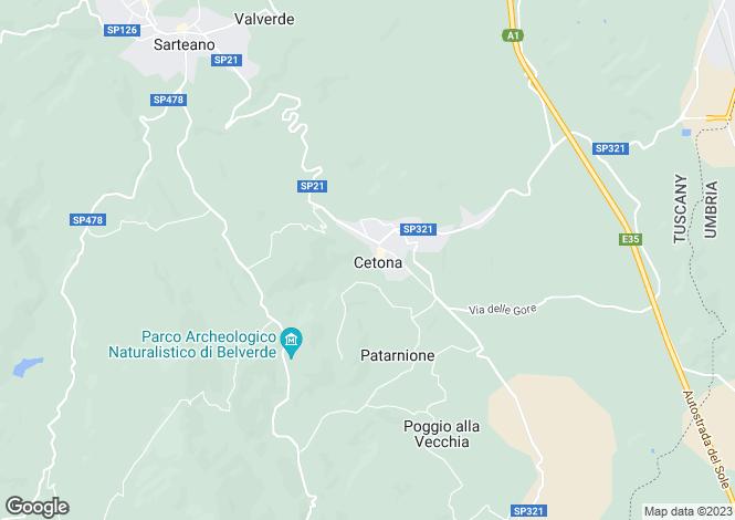 Map for Tuscany, Siena, Cetona
