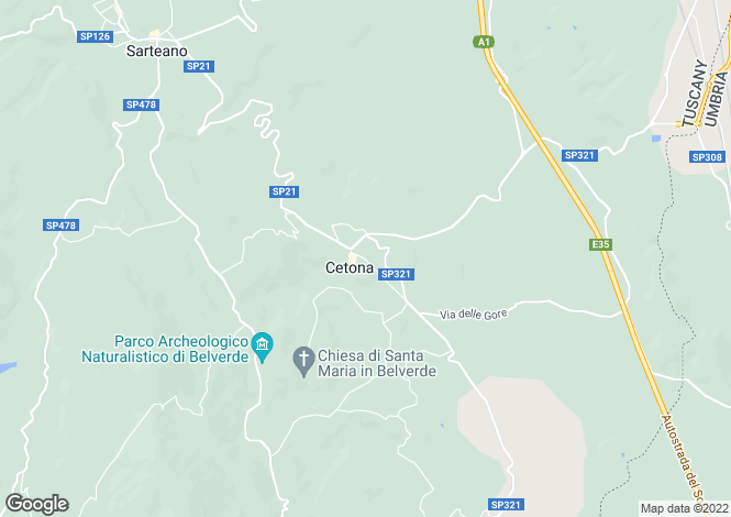 Map for S.P. 321, Cetona, Tuscany
