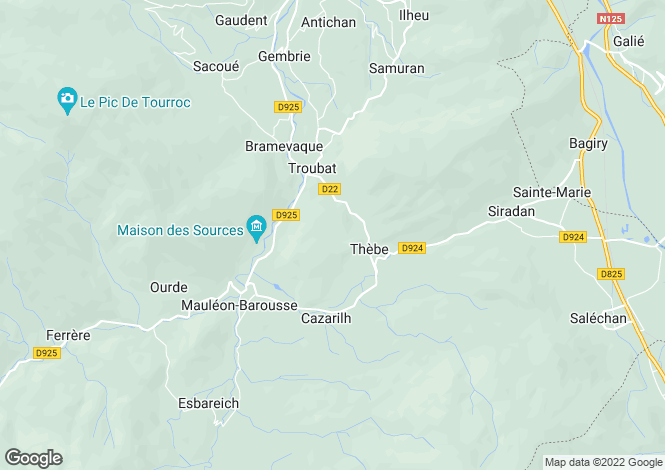 Map for thebe, Hautes-Pyrénées, France