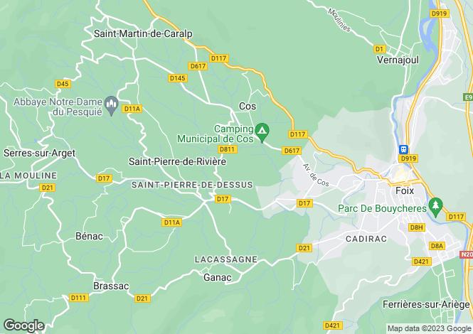 Map for Midi-Pyrenees, Ariège, Saint-Pierre-de-Rivière
