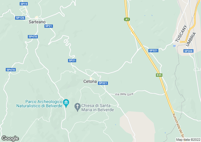 Map for Cetona, Siena, Tuscany