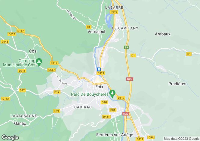 Map for Midi-Pyrénées, Ariège, Foix