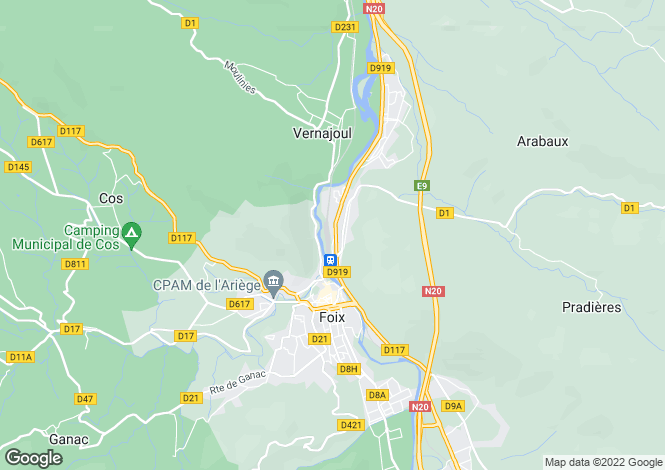 Map for foix, Ariège, France
