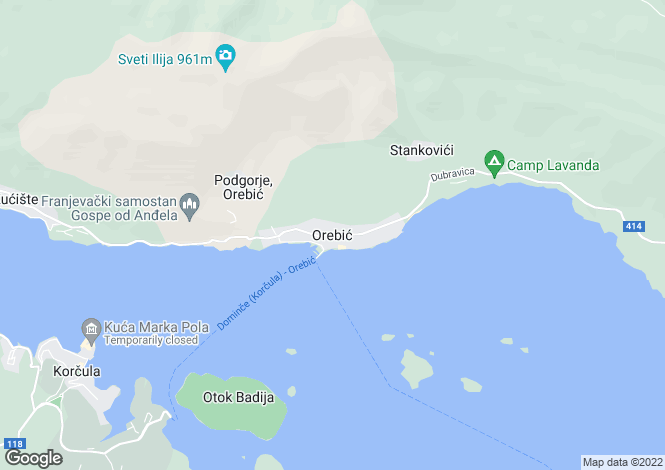 Map for Orebic, Peljesac Peninsula, Croatia