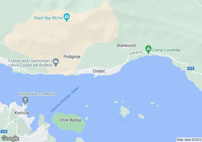 Map for Orebic, Peljesac Peninsula, Dalmatia, Croatia
