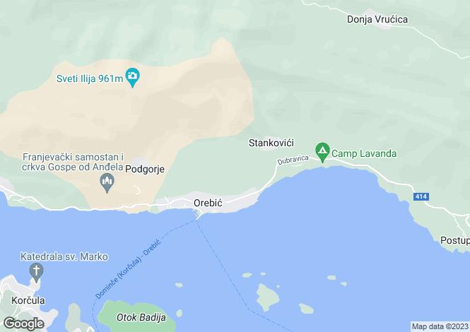 Map for Orebic, Peljesac Peninsula, Croatia