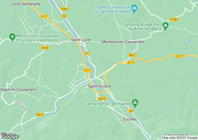 Map for SAINT GIRONS, Ariege (Foix), S.W France - Midi-Pyrenees,