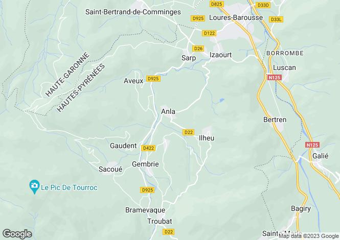 Map for Midi-Pyrénées, Hautes-Pyrénées, Créchets