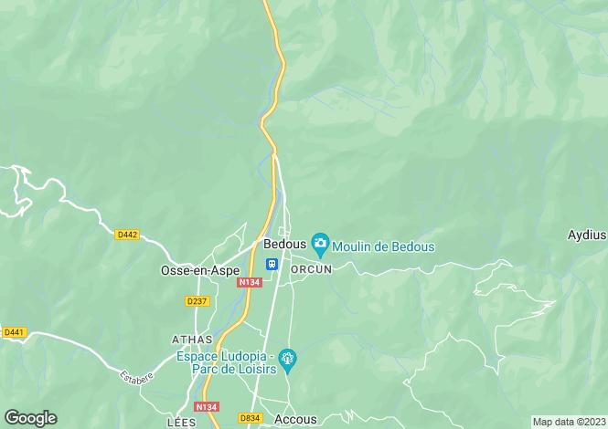 Map for bedous, Pyrénées-Atlantiques, France