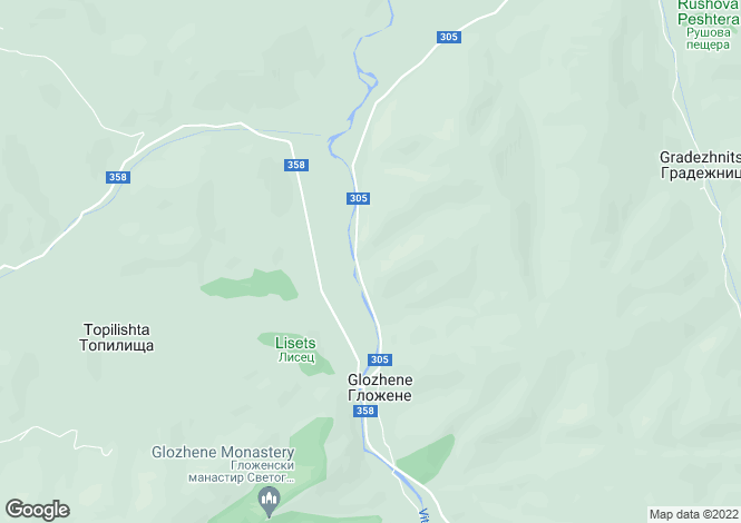 Map for Lovech, Glozhene