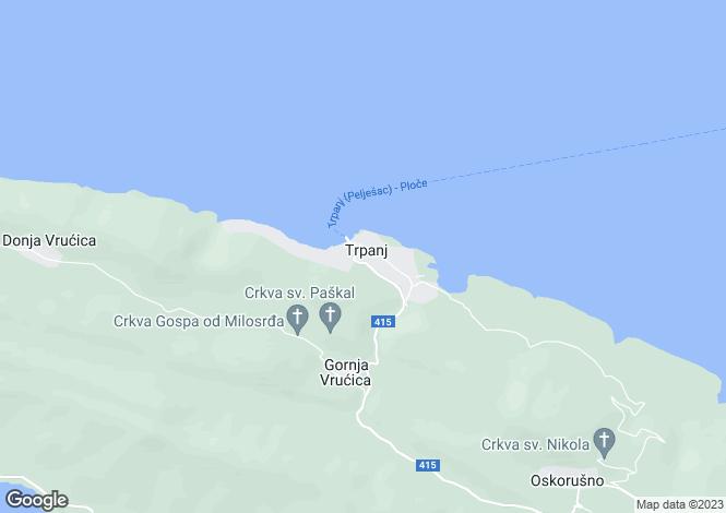 Map for Trpanj, Pelješac Peninsula, Croatia