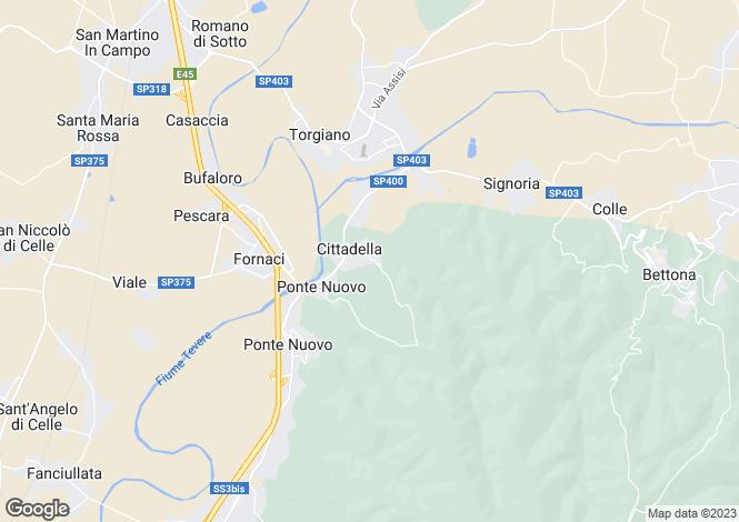 Map for Umbria, Perugia, Torgiano