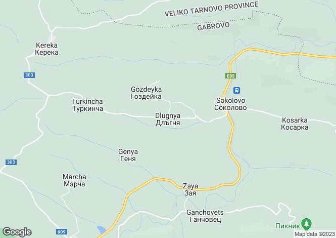Map for Dlagnya, Gabrovo