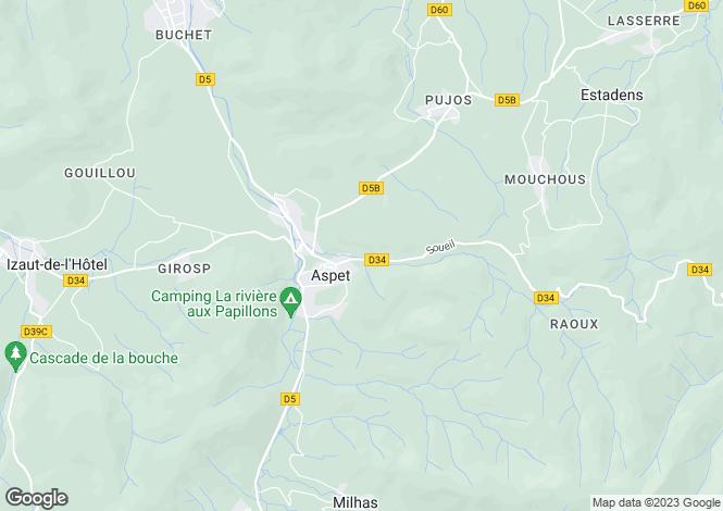 Map for aspet, Ariège, France