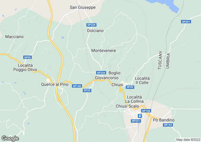 Map for Chiusi, Siena, Tuscany