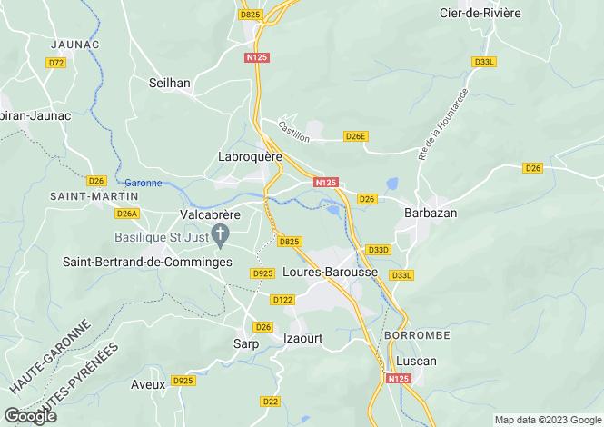 Map for Midi-Pyrénées, Haute-Garonne, Labroquère