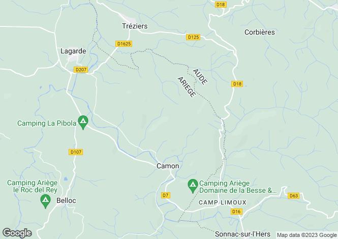 Map for Midi-Pyrénées, Ariège, Camon