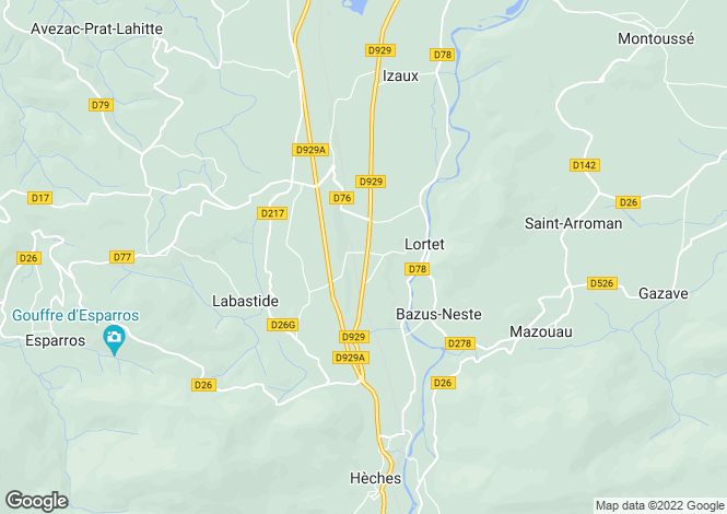 Map for Midi-Pyrénées, Hautes-Pyrénées, Lortet