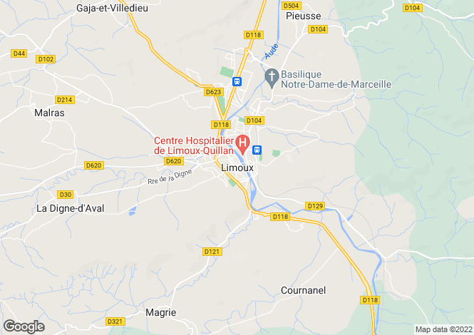 Map for Limoux, Languedoc-Roussillon, France